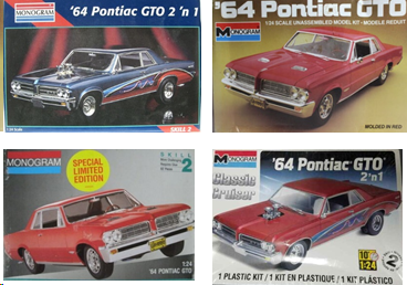 Multiple box covers for other examples of 1964 Pontiac GTO model kits