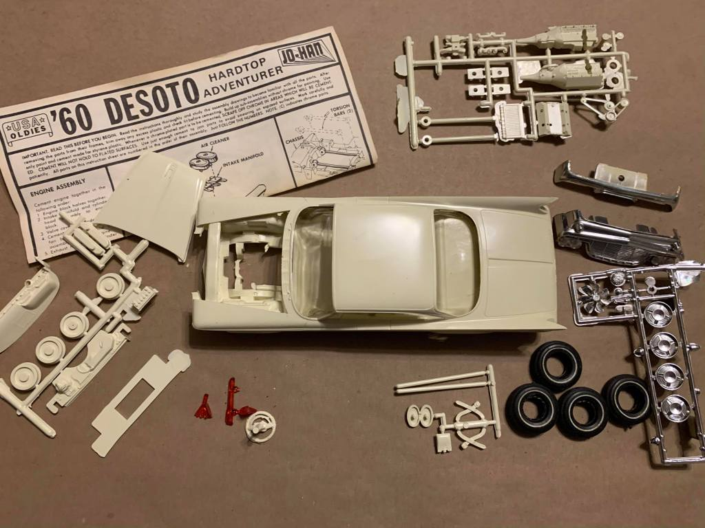 Jo-Han 1960 Desoto Adventurer model kit parts picture